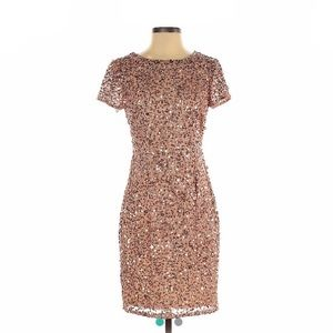 Adrianna Papell Rose Gold Sequin Dress Cocktail